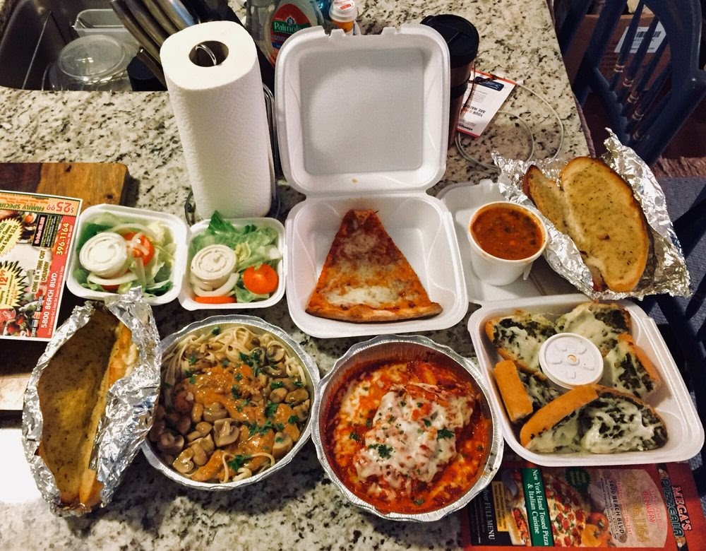 Photo of Mega's Pizzeria - Jacksonville, FL, United States. Light takeout dinner :)