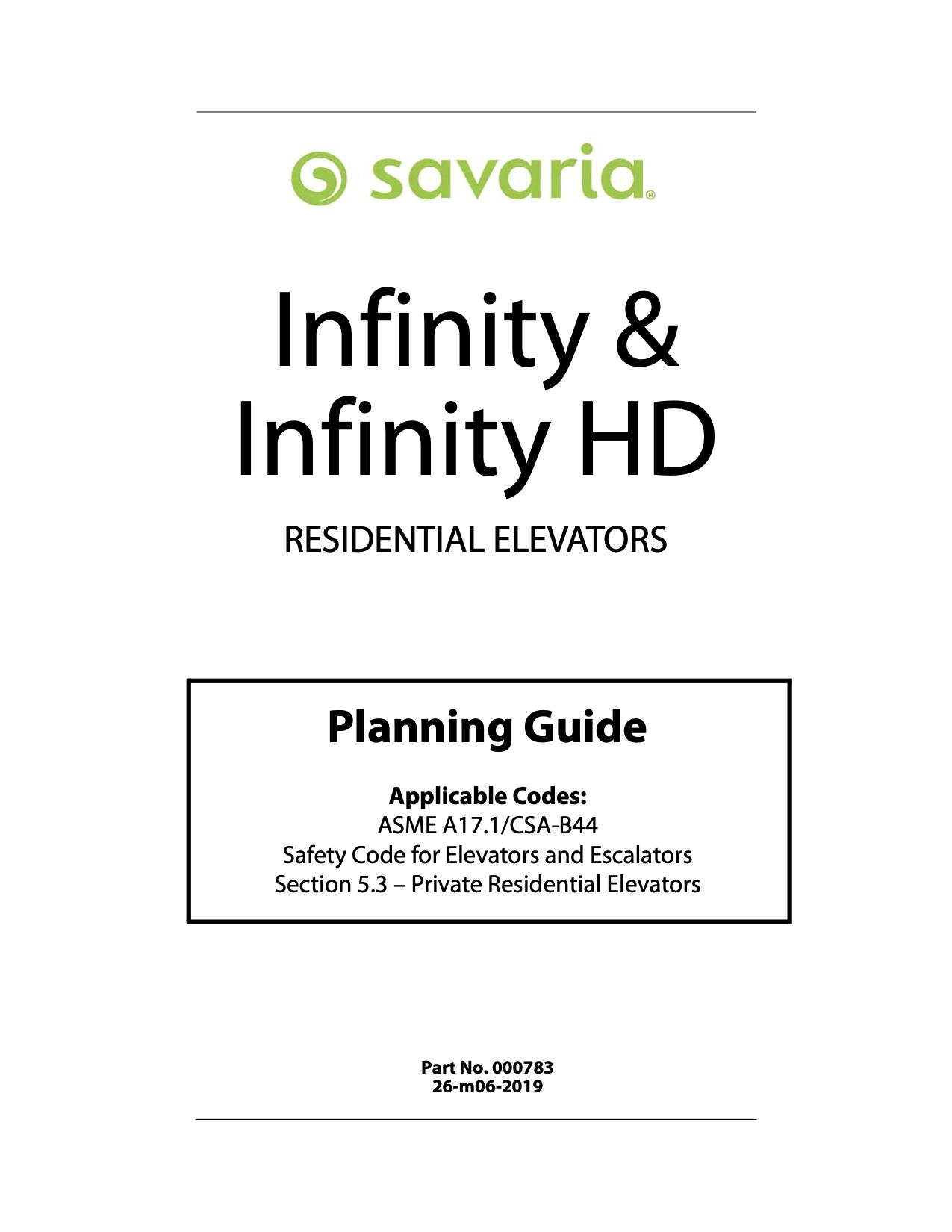 Savaria Elevators Infinity Planning Guide
