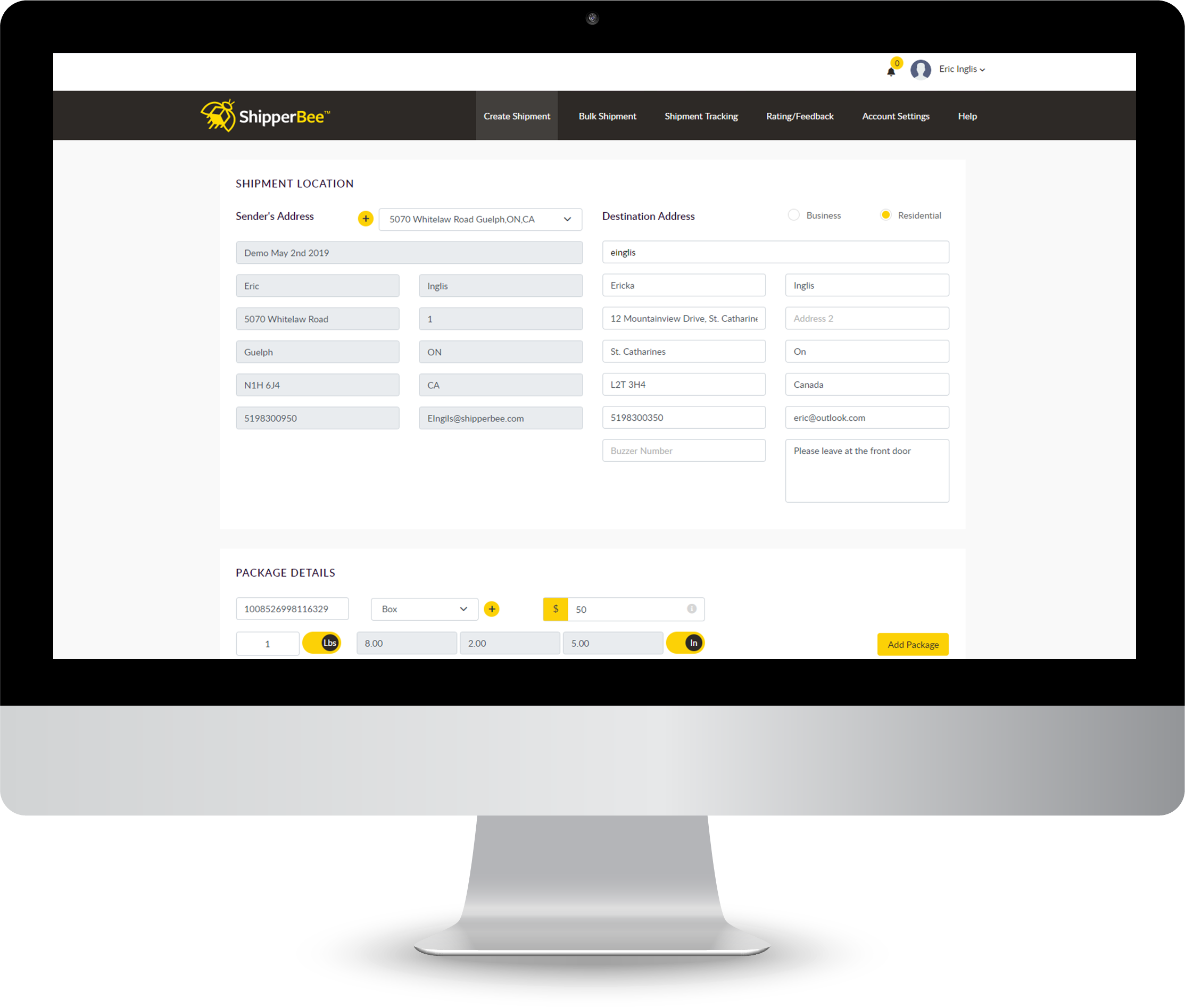 ShipperBee Business Portal for Shipping