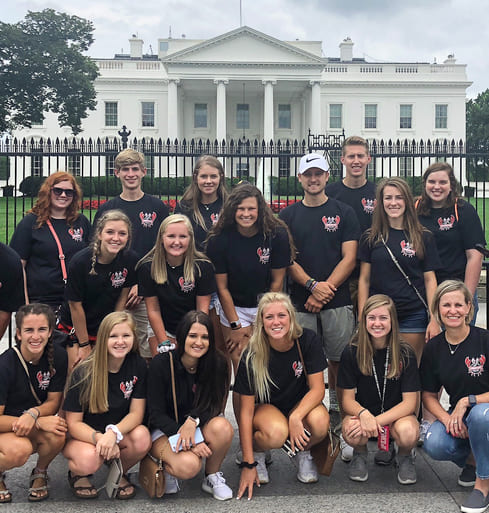 FBLA members and advisers in front of white house during National Leadership Conference