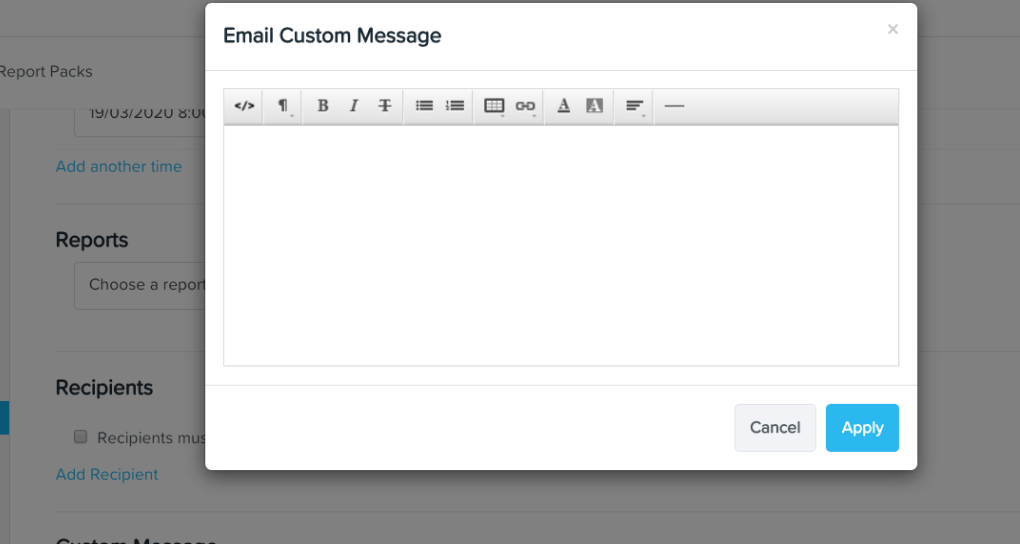 Enter in a custom message for SG clients in KeyPay's report pack feature