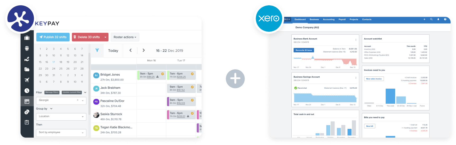 Dashboard for Xero and KeyPay integration