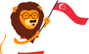 KeyPay Lion mascot with Singapore flag