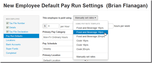 Applying Pay Rate Templates to Employees