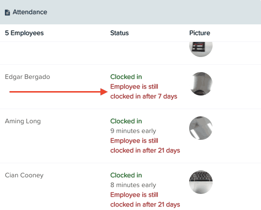 Managers can use Live View to clock out their staff