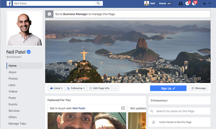 Completed personal facebook page