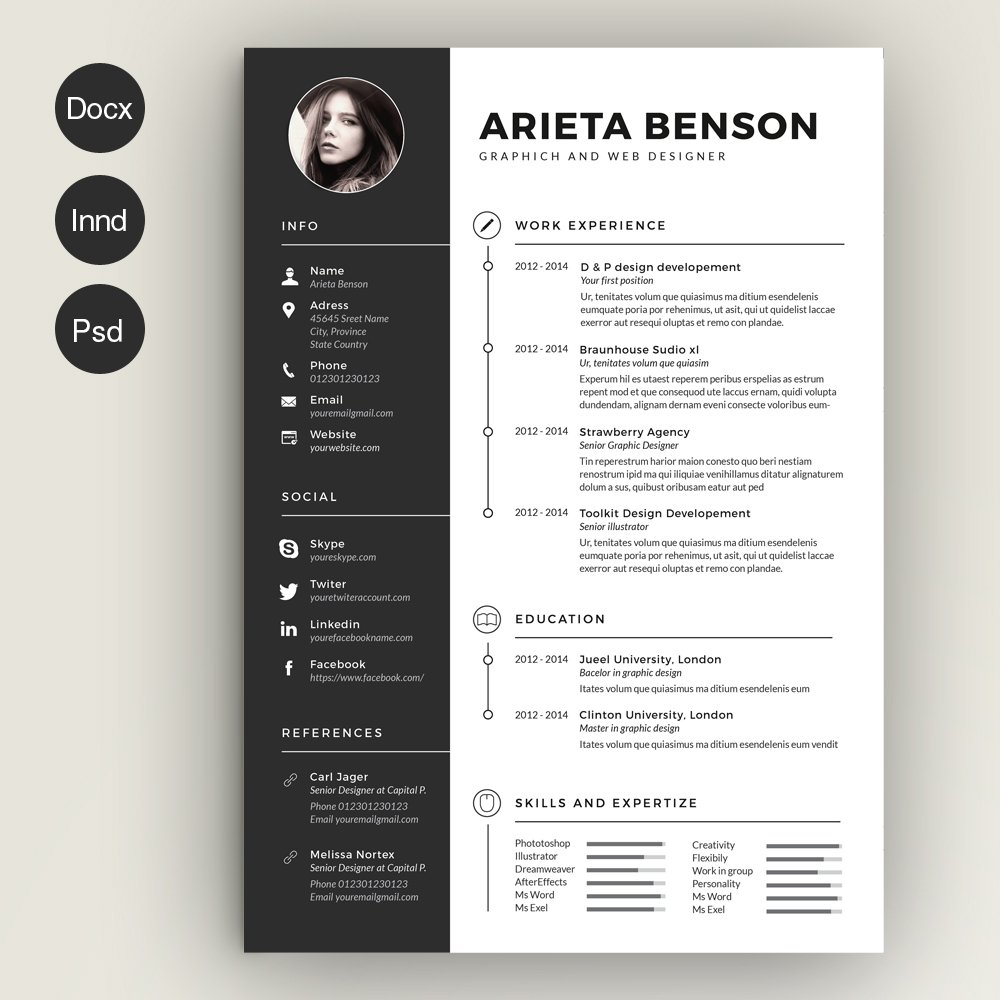 Creative resume for a graphic designer