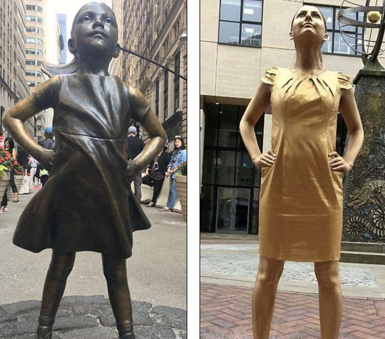 the fearless girl statue and a potential intern posing the same way
