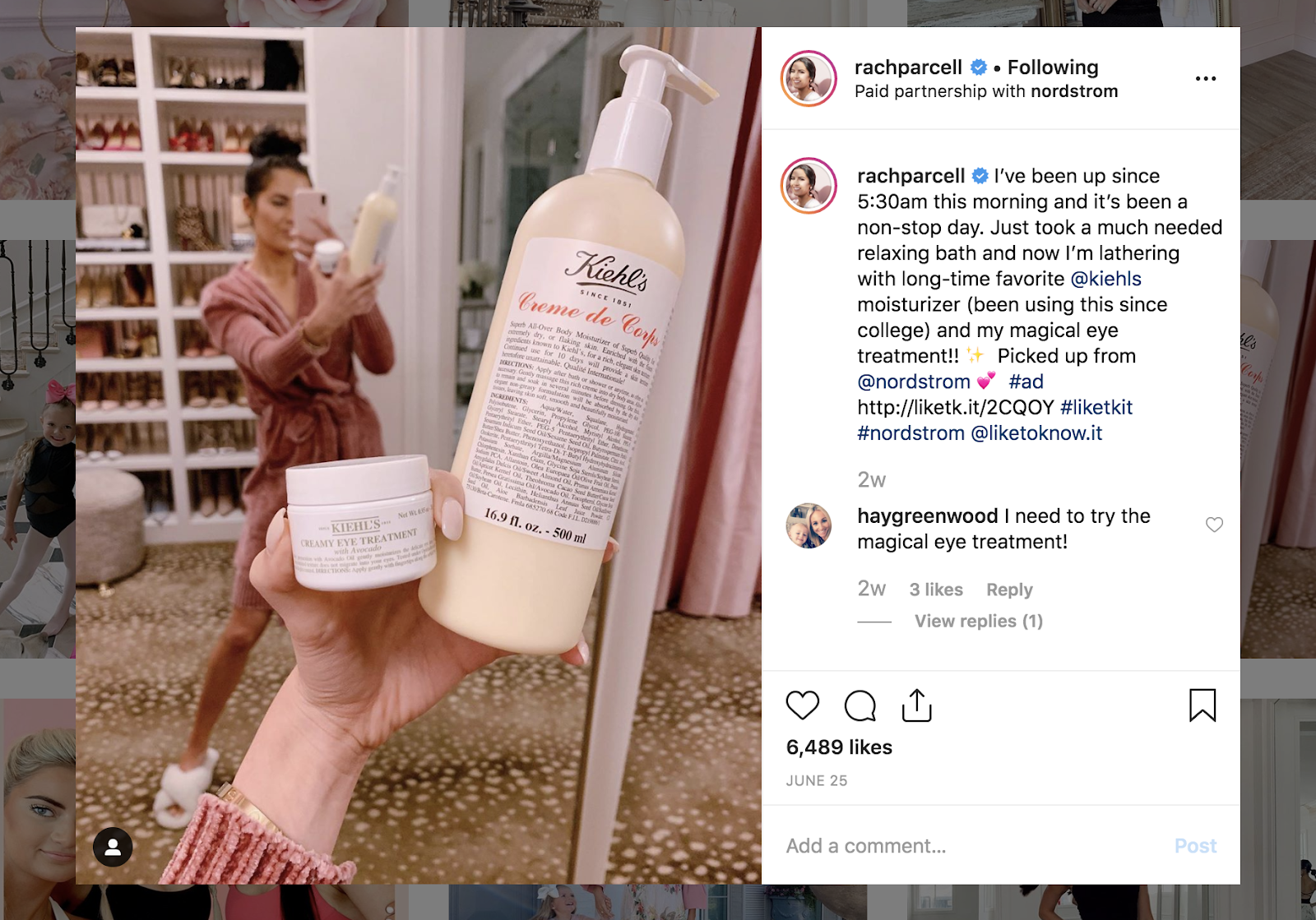 Kiehl's instagram ad