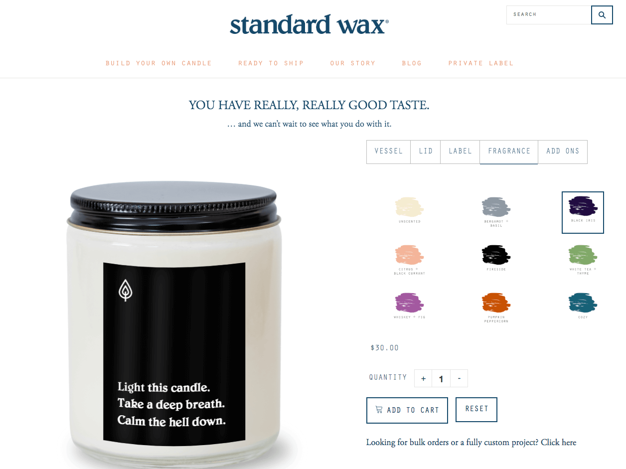 standard wax's candle ordering page