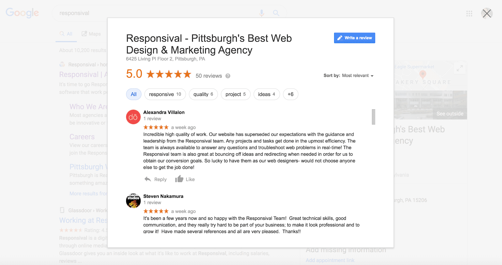 online reviews of a Pittsburgh web design firms