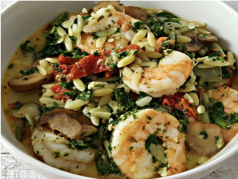 Dinner Ideas for Two: Garlic Orzo Tuscan Shrimp