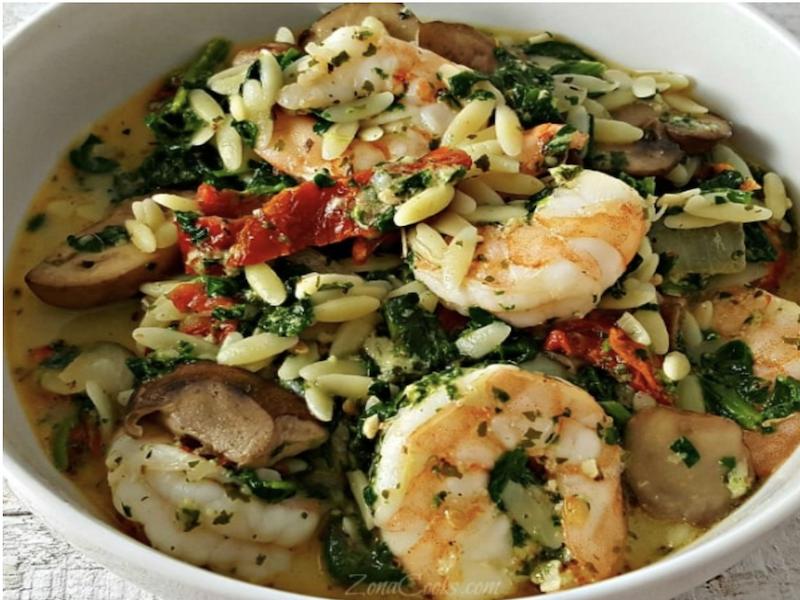 Dinner Ideas for Two: Garlic Orzo Tuscan Shrimp