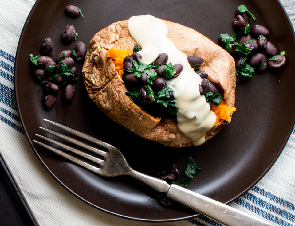 Healthy weeknight meals: Stuffed Sweet Potatoes with Humus Dressing