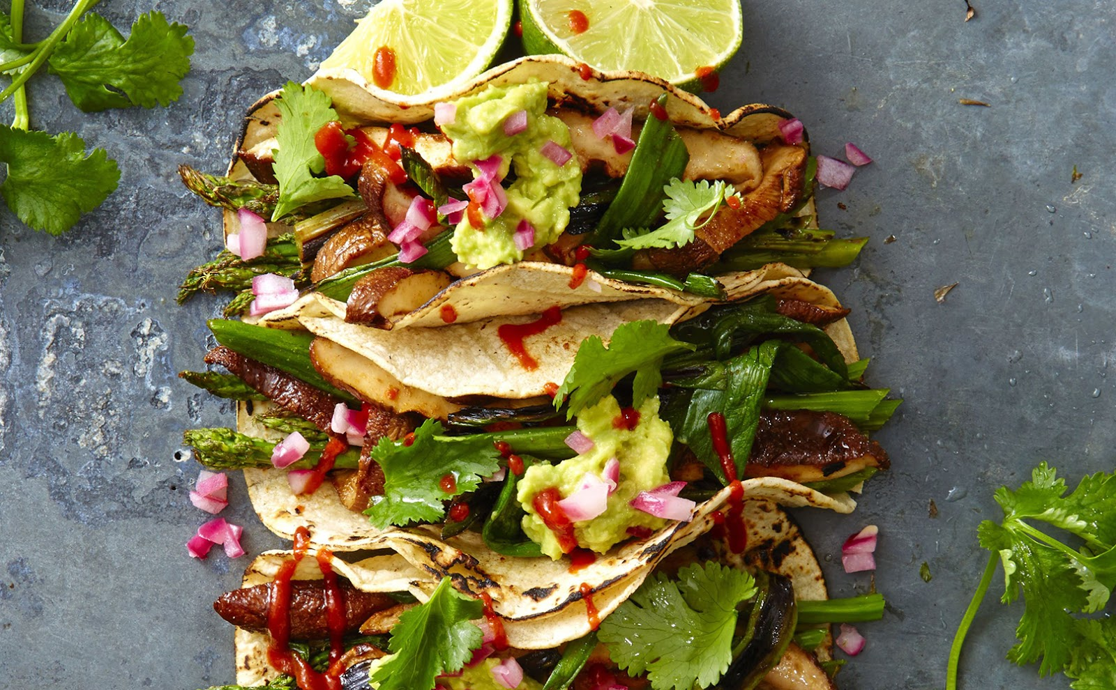 Easy healthy dinner: Grilled Asparagus and Shiitake Tacos