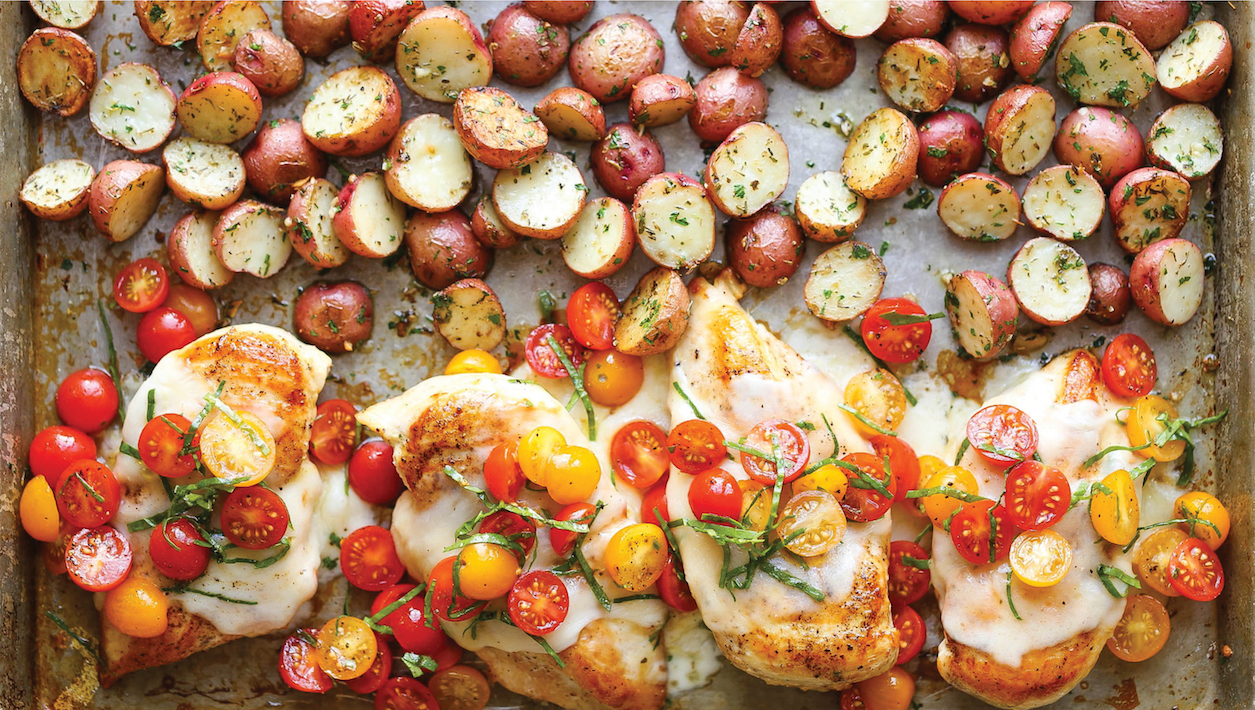 Easy healthy dinner: Sheet Pan Bruschetta Chicken