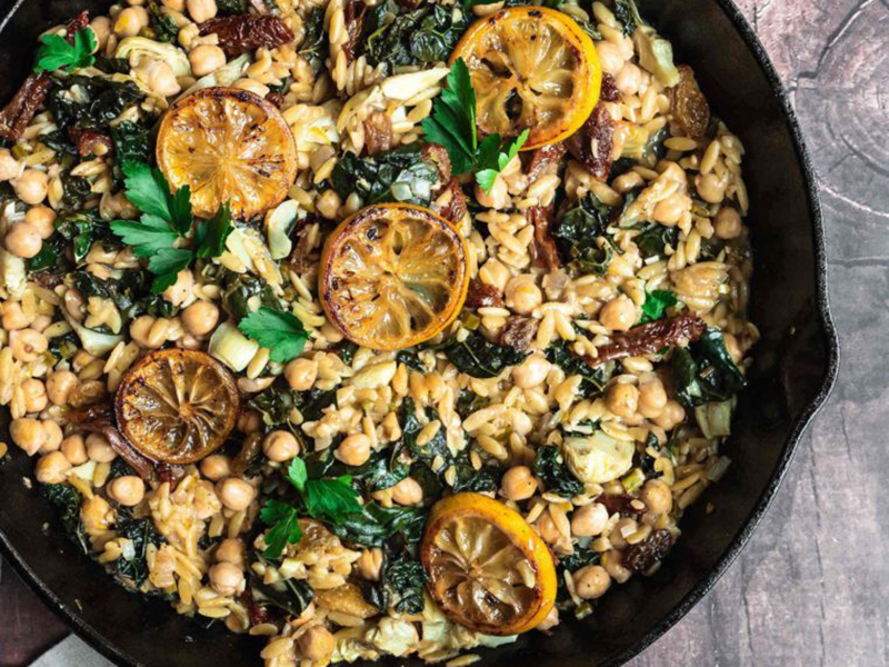 Simple Dinner Ideas: One-Skillet Lemon Mediterranean Orzo