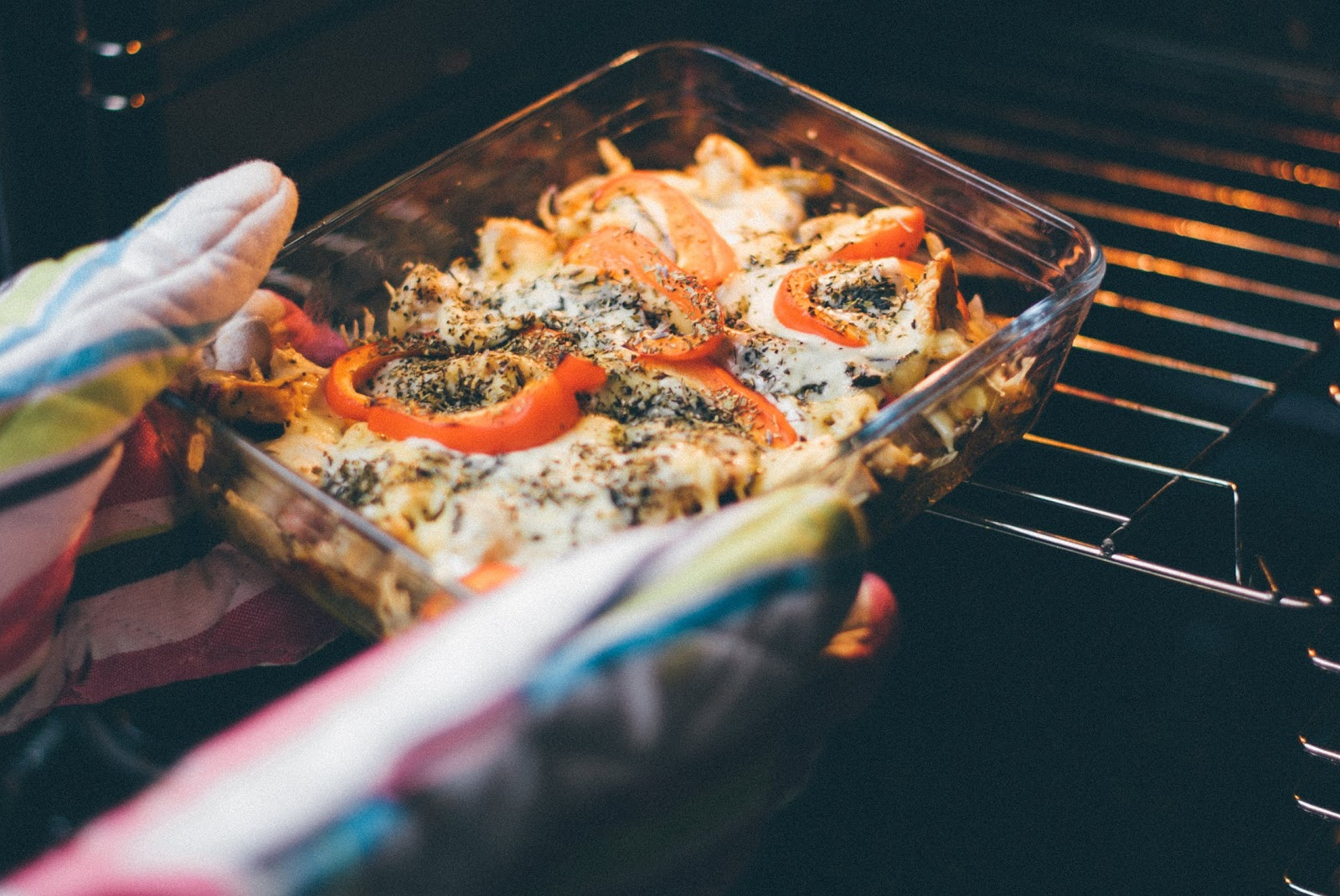 Steam convection oven: a casserole coming out of the oven
