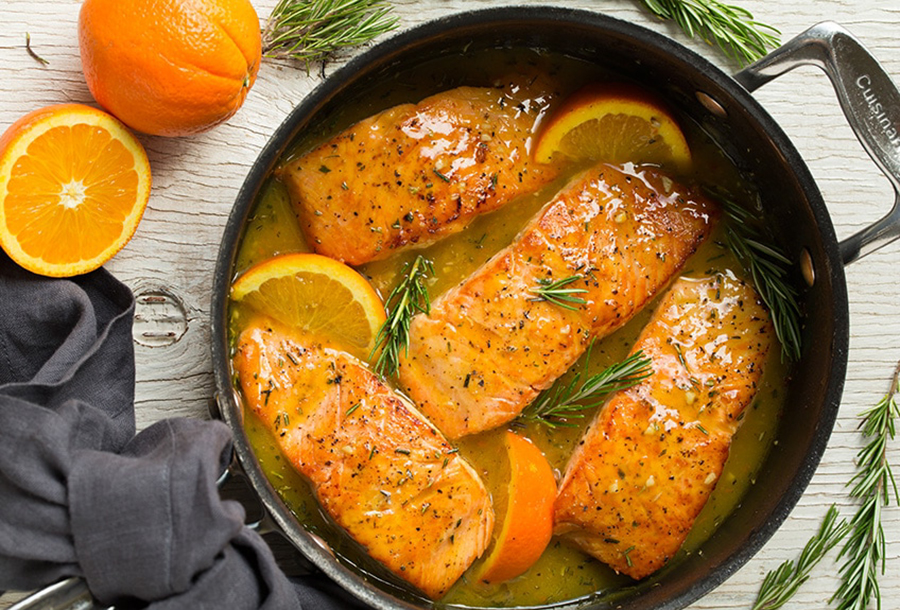 Easy dinner recipes for two: Orange Glazed Salmon With Rosemary