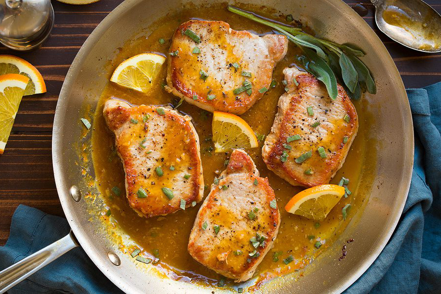 Easy healthy dinner recipes: Orange-Sage Pork Chops