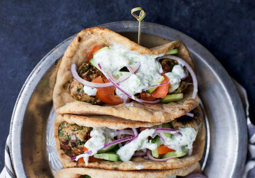 Easy healthy dinner recipes: Greek Turkey Meatball Gyro With Tzatziki