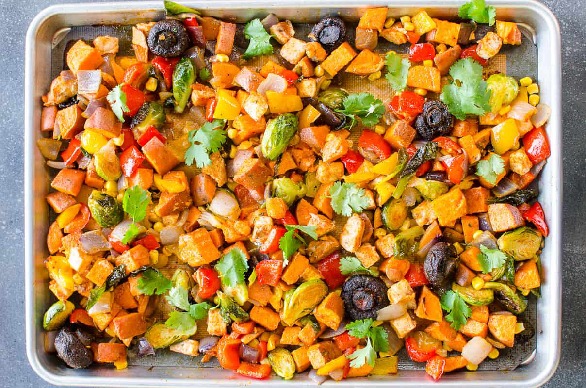 Easy healthy dinner recipes: One Pan Chicken and Veggies