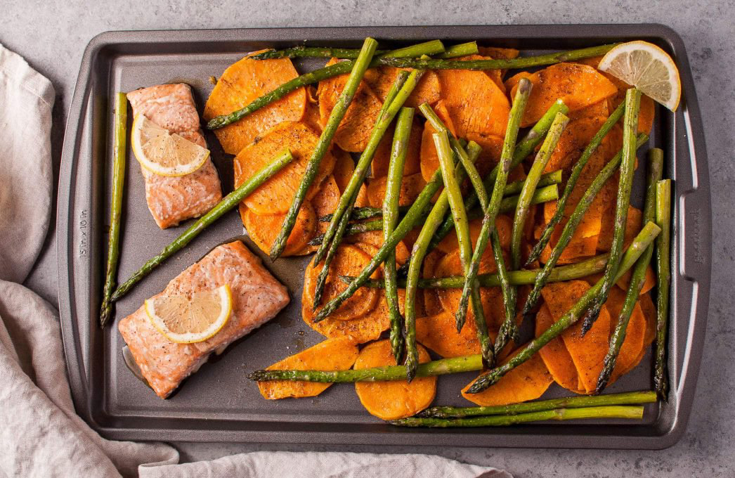 Easy healthy dinner recipes: Maple Salmon Sheet Pan Dinner