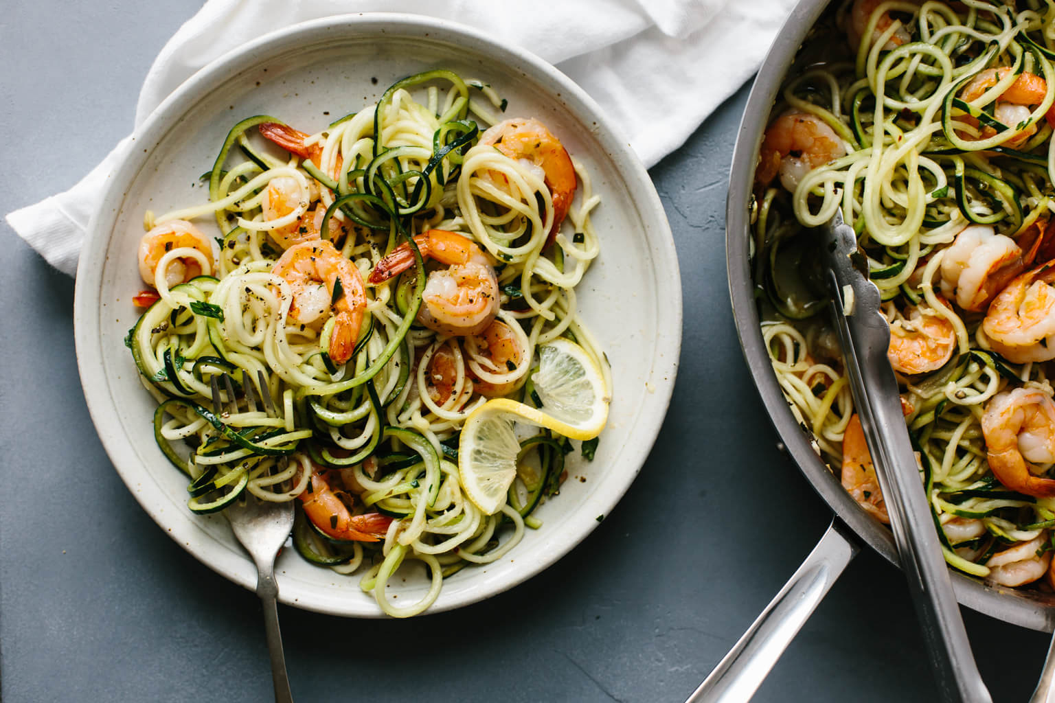 Easy healthy dinner recipes: Zucchini Pasta With Lemon Garlic Shrimp