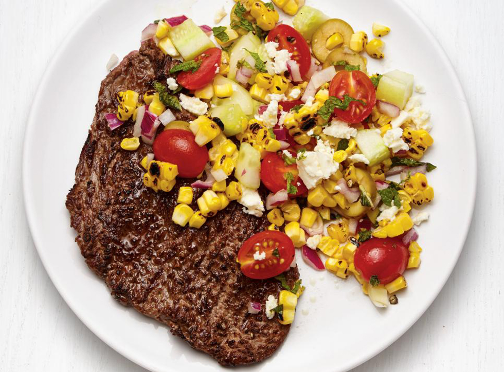 What to make for dinner: Grilled Steak With Greek Corn Salad