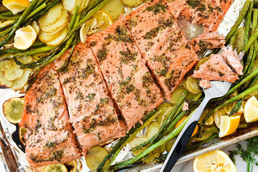 What to make for dinner: Mustard Salmon Sheet-Pan Dinner