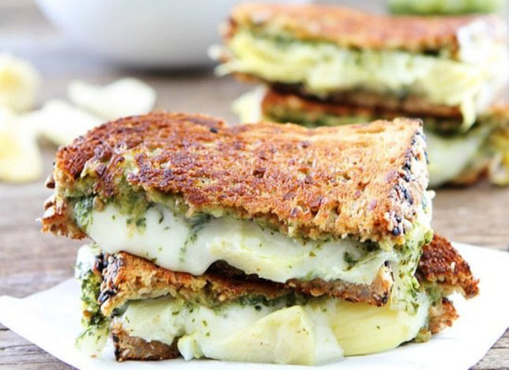 What to make for dinner: Pesto, Artichoke, and Havarti Grilled Cheese