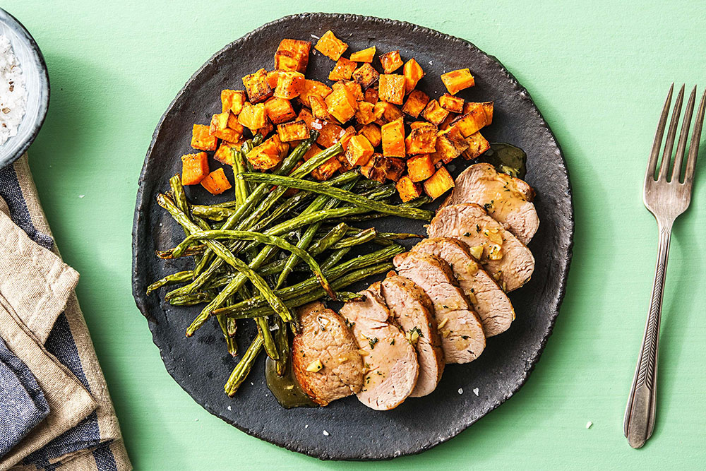 Hello Fresh recipes: Honey-Glazed Pork Tenderloin With Sweet Potatoes and Green Beans