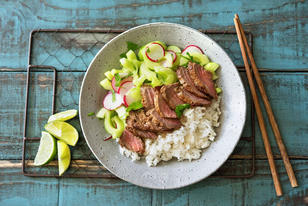 Hello Fresh recipes: Vietnamese-Marinated Steak With Herb Salad, Quick Pickled Veggies, and Jasmine Rice