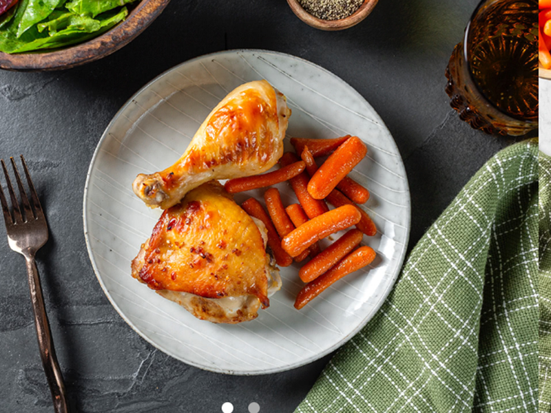 Chicken dinner ideas: Teriyaki Glazed Chicken Drumsticks and Thighs With Carrots