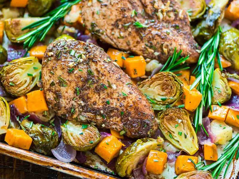 Quick easy dinner: Sheet Pan Chicken With Sweet Potatoes, Apples, and Brussels Sprouts