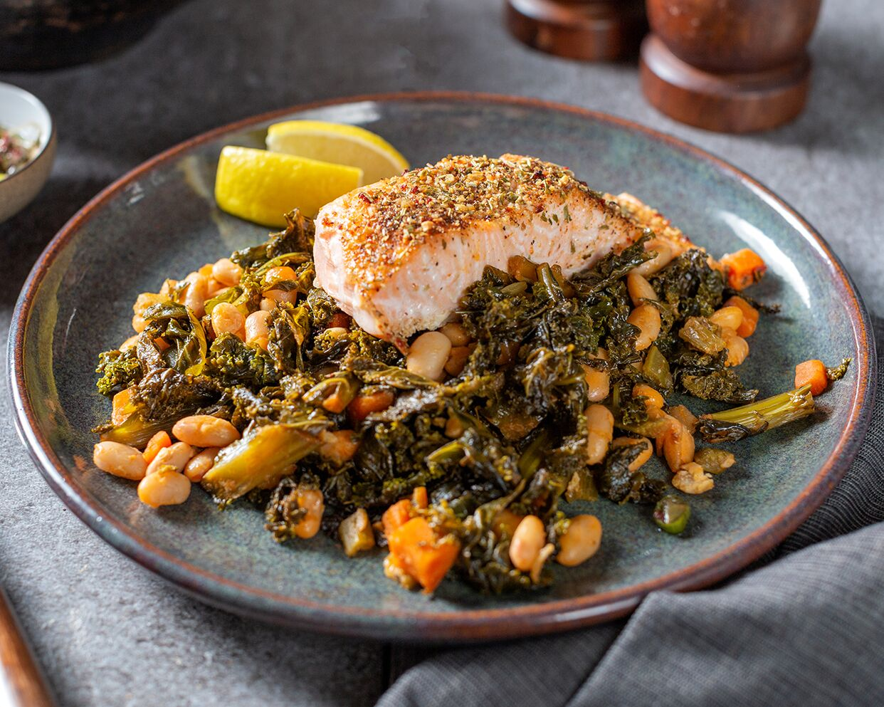 Healthy quick meals: a plate of salmon with beans and greens