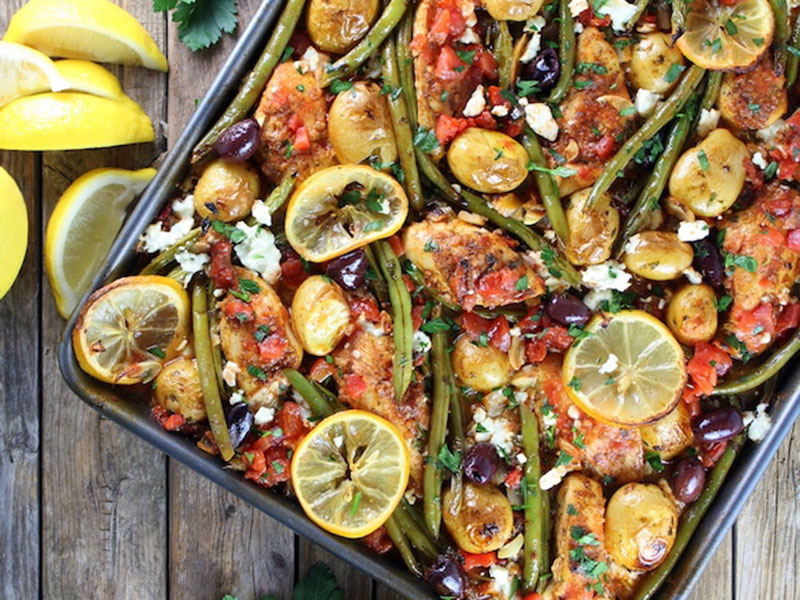 Healthy quick meals: Greek Chicken Sheet Pan Dinner With Green Beans and Feta