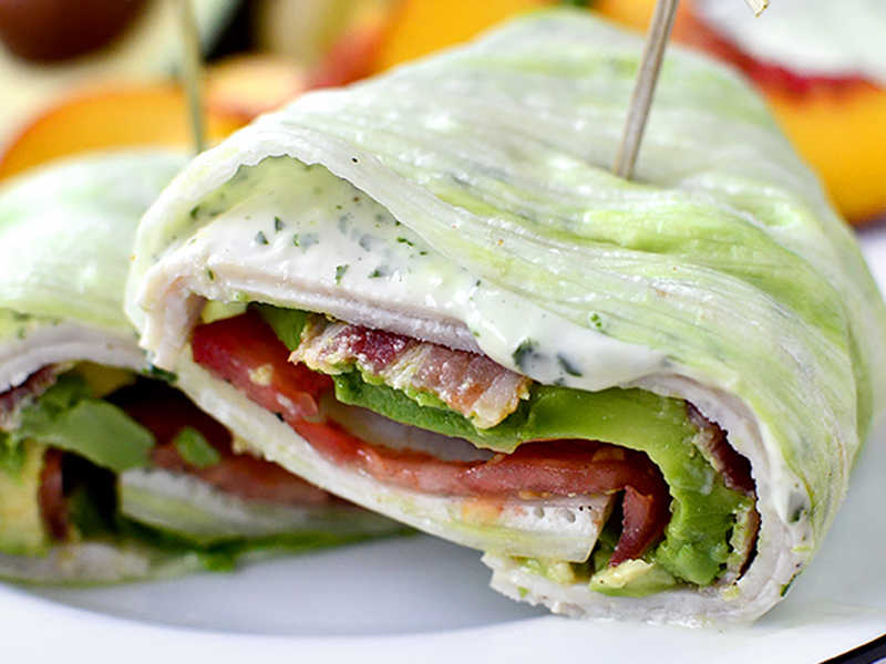 Low-carb meals: California Turkey and Bacon Lettuce Wraps With Basil Mayo