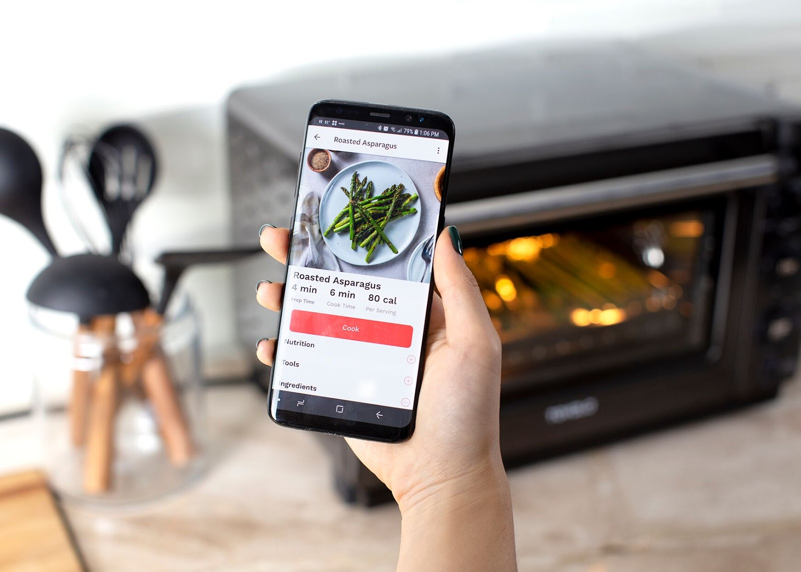 Countertop oven: The Tovala App connects with the Tovala Oven