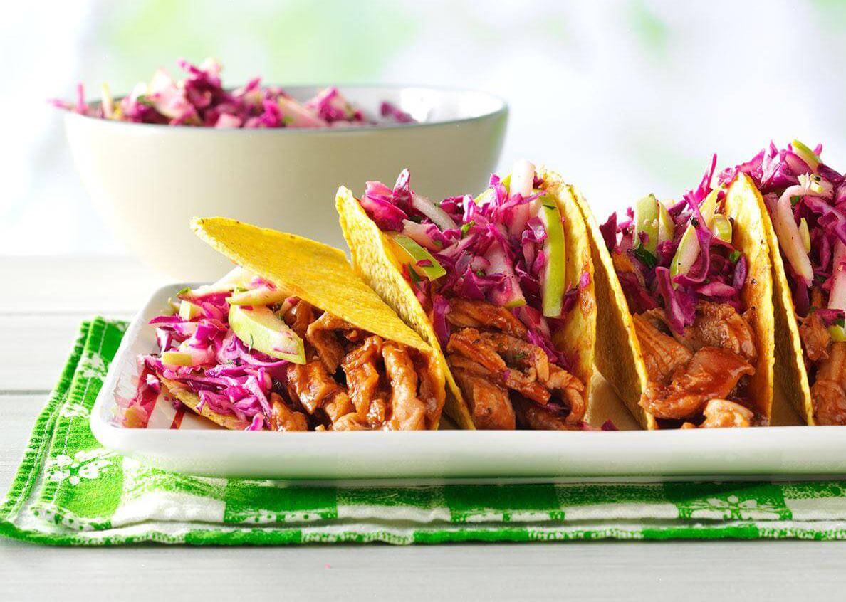 Low-calorie meals: Barbecue Pork Tacos With Apple Slaw