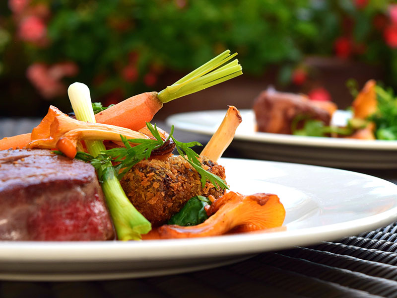 High-protein dinners: steak and carrots on a plate