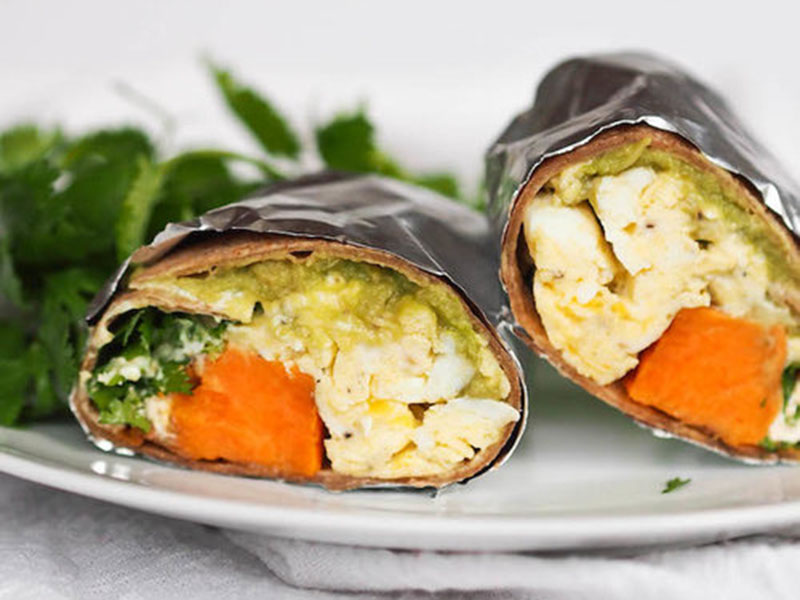High-protein dinner: Breakfast Burrito With Sweet Potatoes, Peppers, and Guacamole