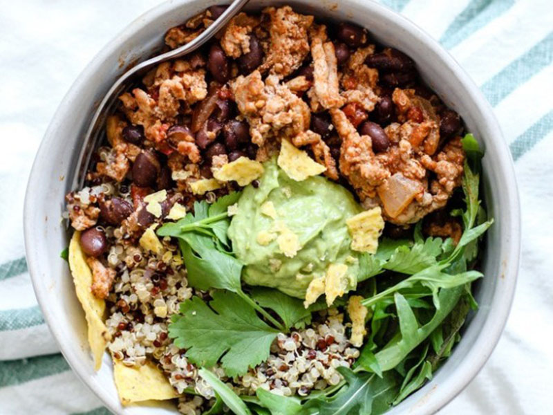 High-protein dinners: Spicy Turkey Taco Quinoa Bowl
