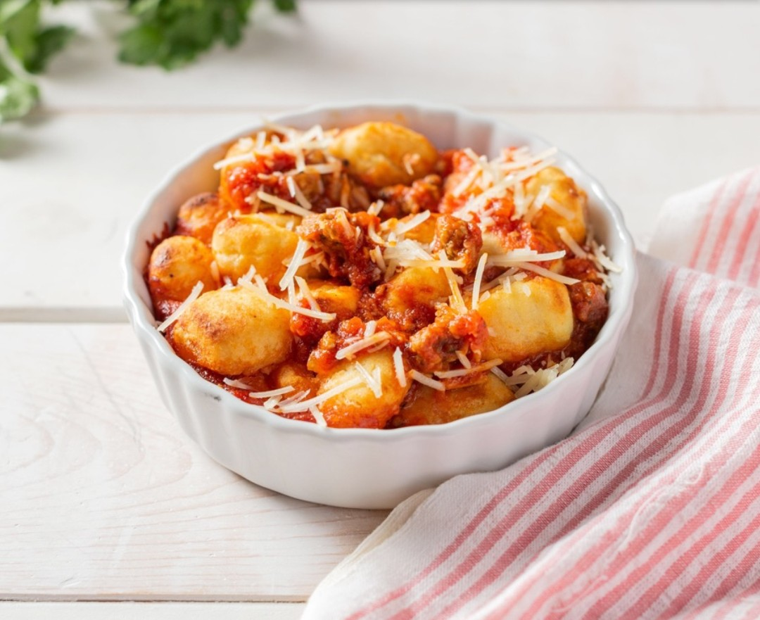 500-calorie meals: Baked Gnocchi With Beyond Beef® Feisty Crumbles