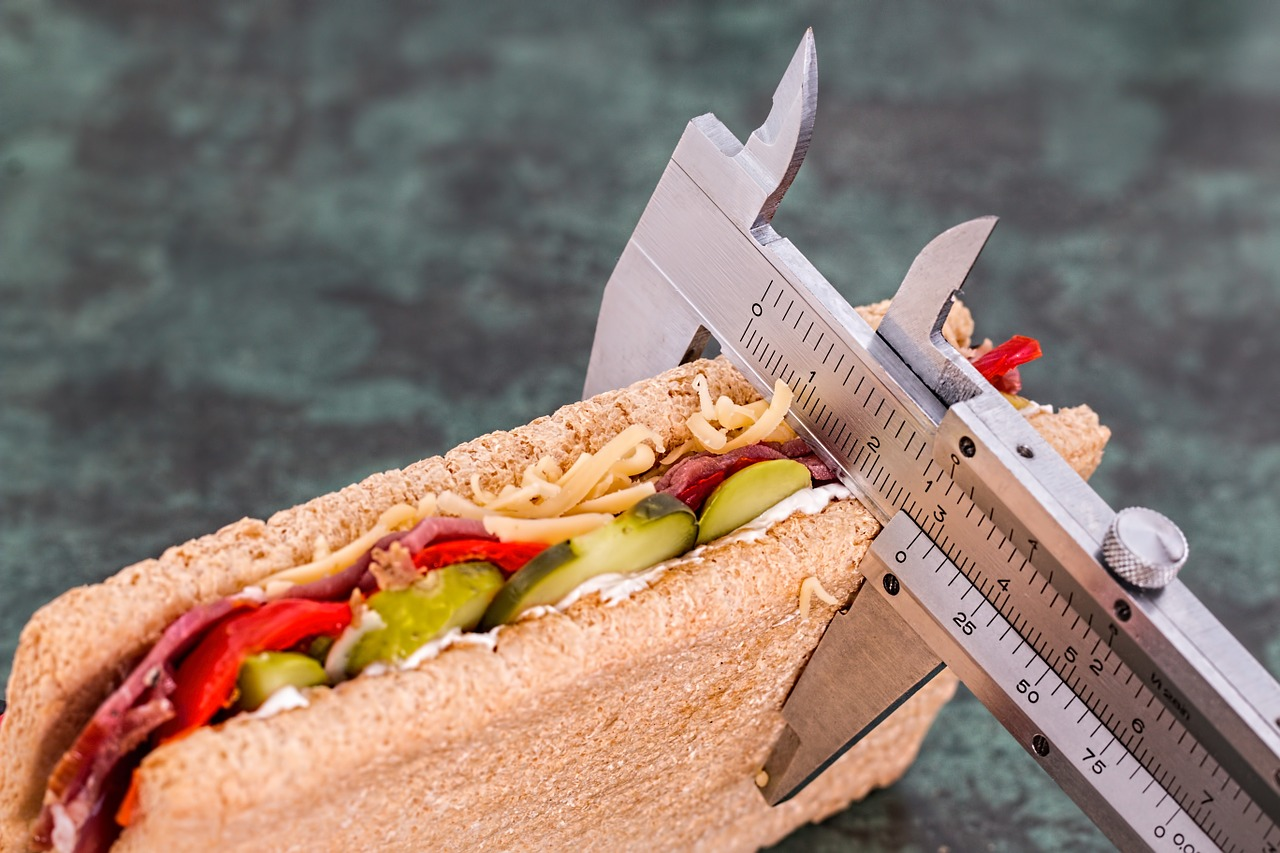 500-calorie meals: A sandwich gets measured with a ruler
