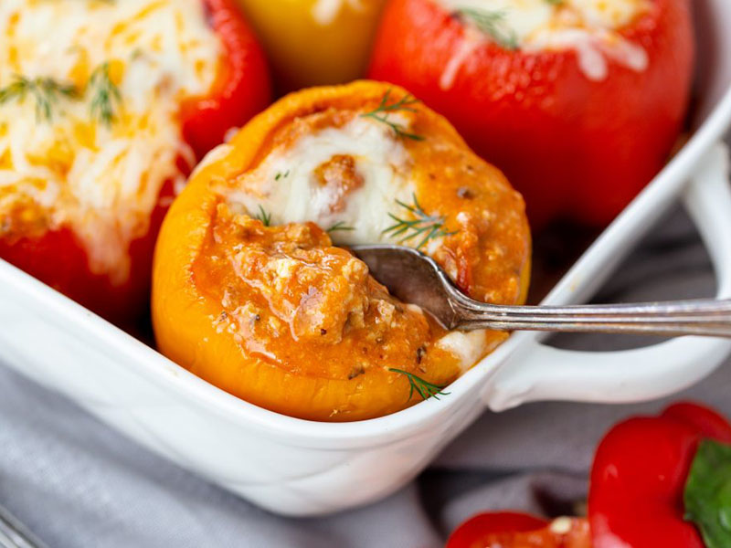 Low-carb, high-protein meals: Low-Carb Lasagna Stuffed Peppers