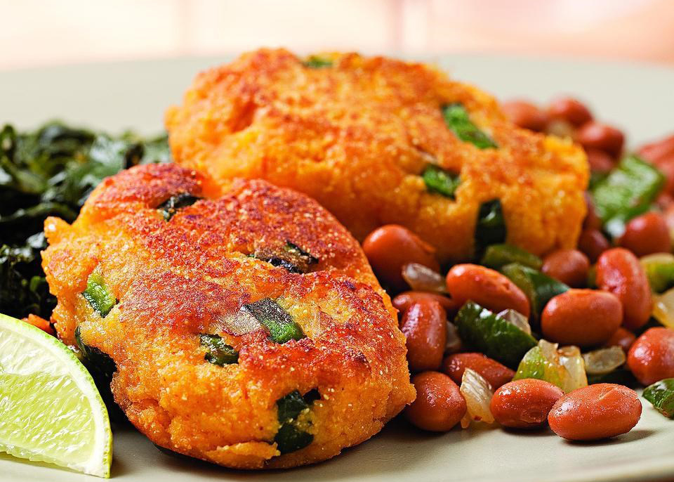 Heart-healthy meals: Sweet Potato Fritters With Smokey Pinto Beans