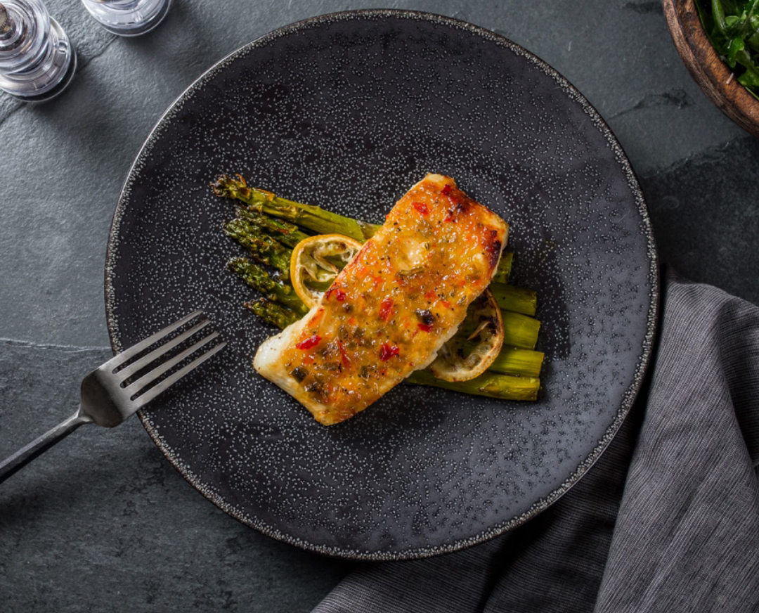 Heart-healthy meals: Pepper Jelly Glazed Halibut With Roasted Lemon Asparagus