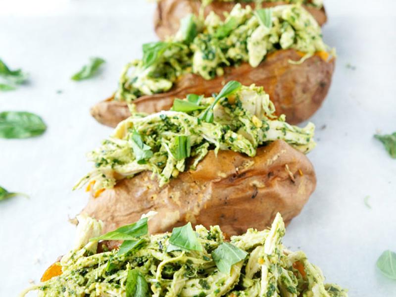Easy chicken dinners: Pesto Chicken Stuffed Sweet Potatoes
