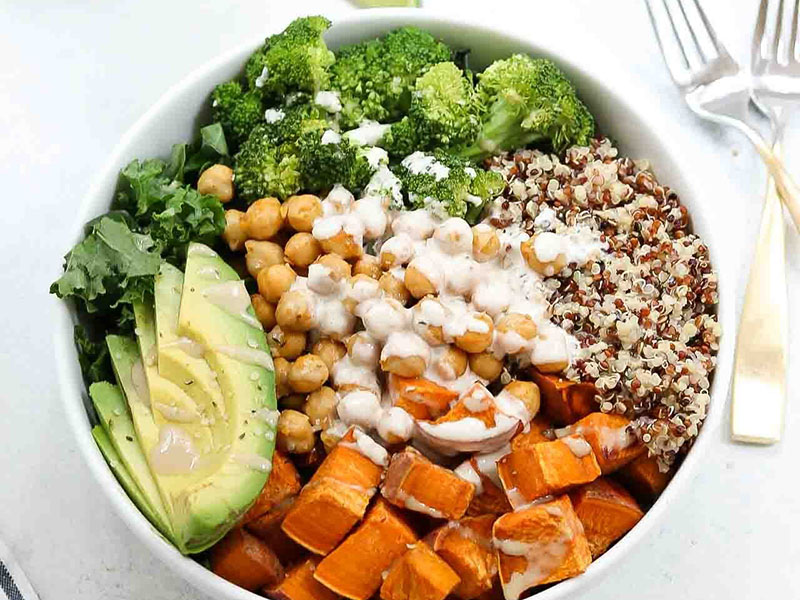 List of meals for dinner: Sweet Potato Chickpea Buddha Bowl